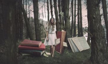 Картинка разное компьютерный+дизайн лес книги девушка