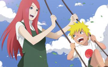 Картинка аниме naruto кушина узумаки наруто качеля листья небо улыбки счастье облака