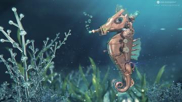 Картинка фэнтези роботы +киборги +механизмы морской конёк имитация desktopography металл