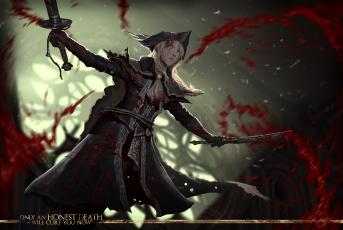 Картинка видео+игры bloodborne фон взгляд девушка кинжал
