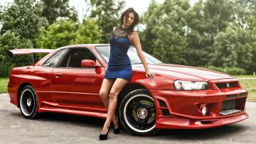 обоя автомобили, -авто с девушками, nissan, skyline, gt-r, 34