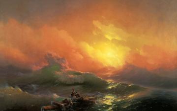 обоя рисованное, иван айвазовский, aivazovsky, закат, двятый, вал