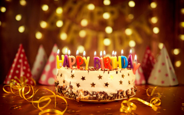 обоя праздничные, день рождения, cake, торт, свечи, birthday, день, рождения, happy, bokeh, decoration