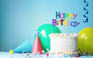 обоя праздничные, день рождения, день, рождения, happy, decoration, торт, свечи, воздушные, шары, birthday, cake