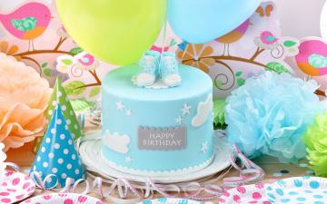 обоя праздничные, день рождения, торт, воздушные, шары, birthday, день, рождения, happy, decoration, cake