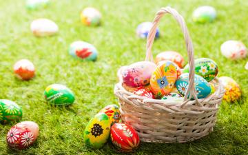 обоя праздничные, пасха, корзинка, Яйца, крашенки, трава