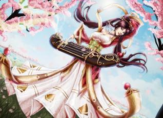 Картинка фэнтези девушки девушка цветение сакура ветви музыкальный инструмент игра арт небо