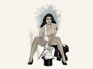 Картинка рисованное люди девушка кролик фокусник взгляд фон