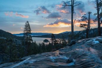 Картинка природа пейзажи california lake tahoe водопады игл emerald bay state park озеро тахо панорама eagle falls водопад калифорния