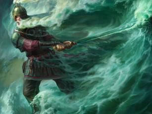 обоя фэнтези, люди, сказка, черномор, лукоморье, арт, меч, волны, море
