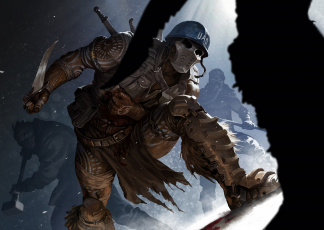 обоя фэнтези, люди, костюм, маска, защита, солдат, нож, схватка, шлем, арт, наемник