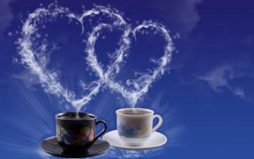обоя праздничные, день святого валентина,  сердечки,  любовь, кофе, сердце, чашка, чай, пар, сердечко, день, святого, валентина