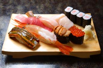 Картинка еда рыба морепродукты суши роллы креветка