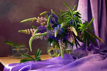 Картинка цветы люпин букет ткань