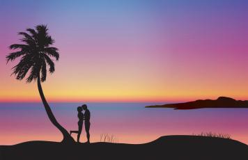 обоя векторная графика, люди , people, девушка, взгляд, фон, парень, море, пальмы