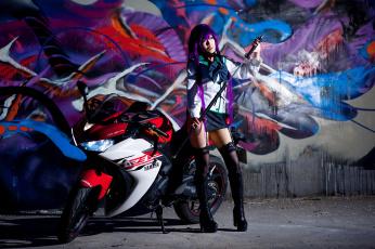 обоя мотоциклы, мото с девушкой, девушка, мотцикл, образ, азиатка