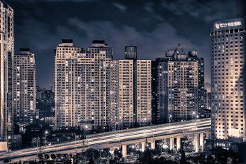 Картинка yan`an highway shanghai china города шанхай китай здания ночной город эстакада