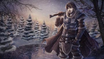 Картинка рисованные люди лес взгляд мужчина снег