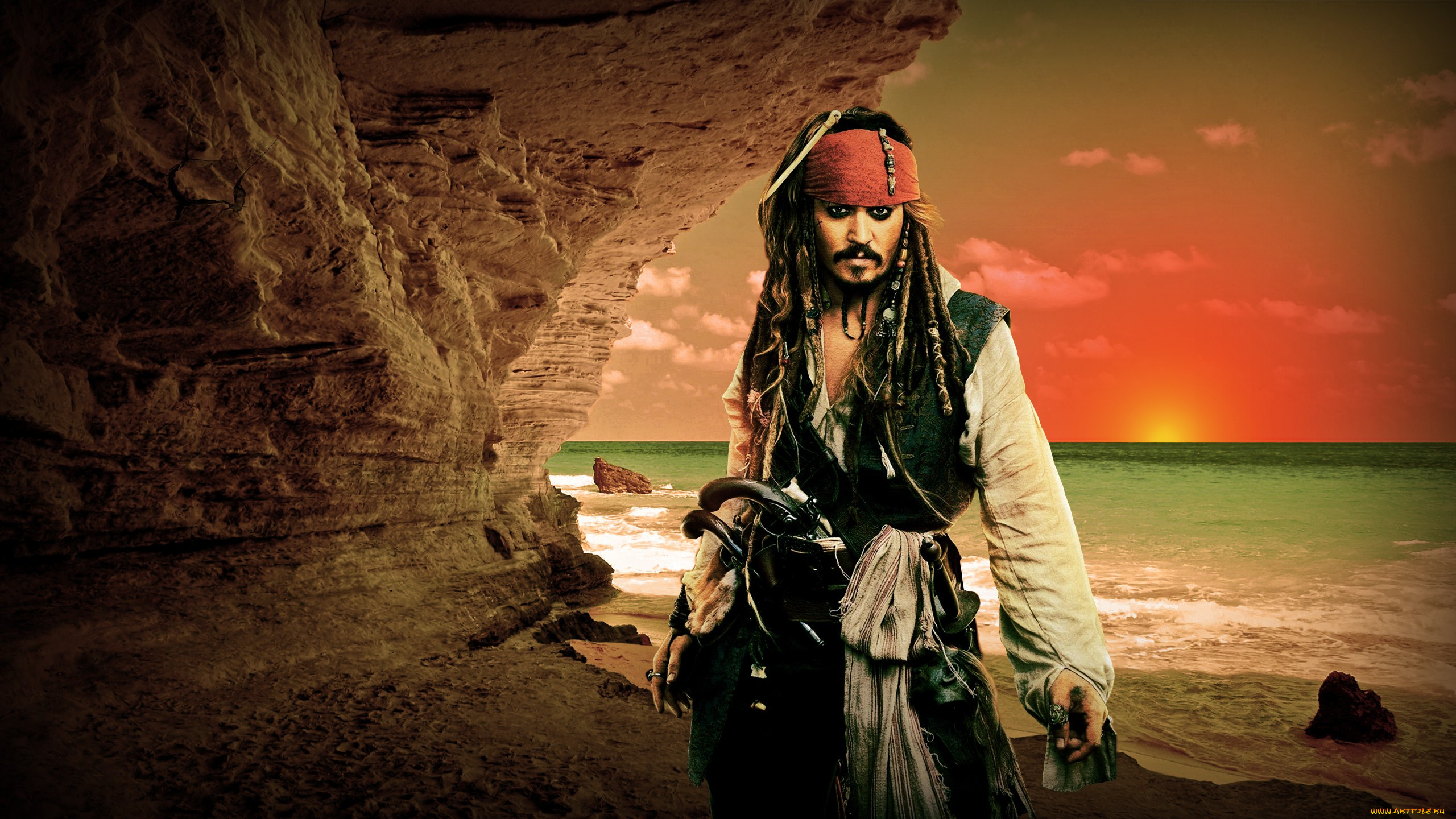 пираты карибского моря джек воробей море природа остров песок лодка вода  № 1386156 бесплатно