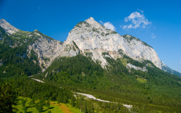 Картинка the mountains of karwendel природа горы вершина леса речка