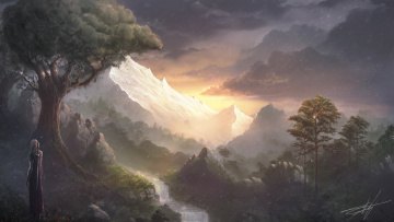 обоя фэнтези, пейзажи, вид, река, меч, горы, плащ, воин, водопад
