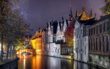 Картинка города брюгге+ бельгия мост здания вечер канал