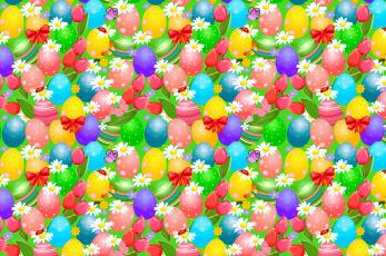 обоя праздничные, пасха, яркий, тюльпаны, бантики, божья, коровка, ромашки, бабочки, яйца