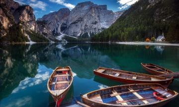 обоя корабли, лодки,  шлюпки, озеро, горы