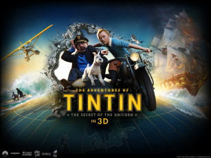 Картинка the adventures of tintin мультфильмы парусник корабль собака самолёт мотоцикл