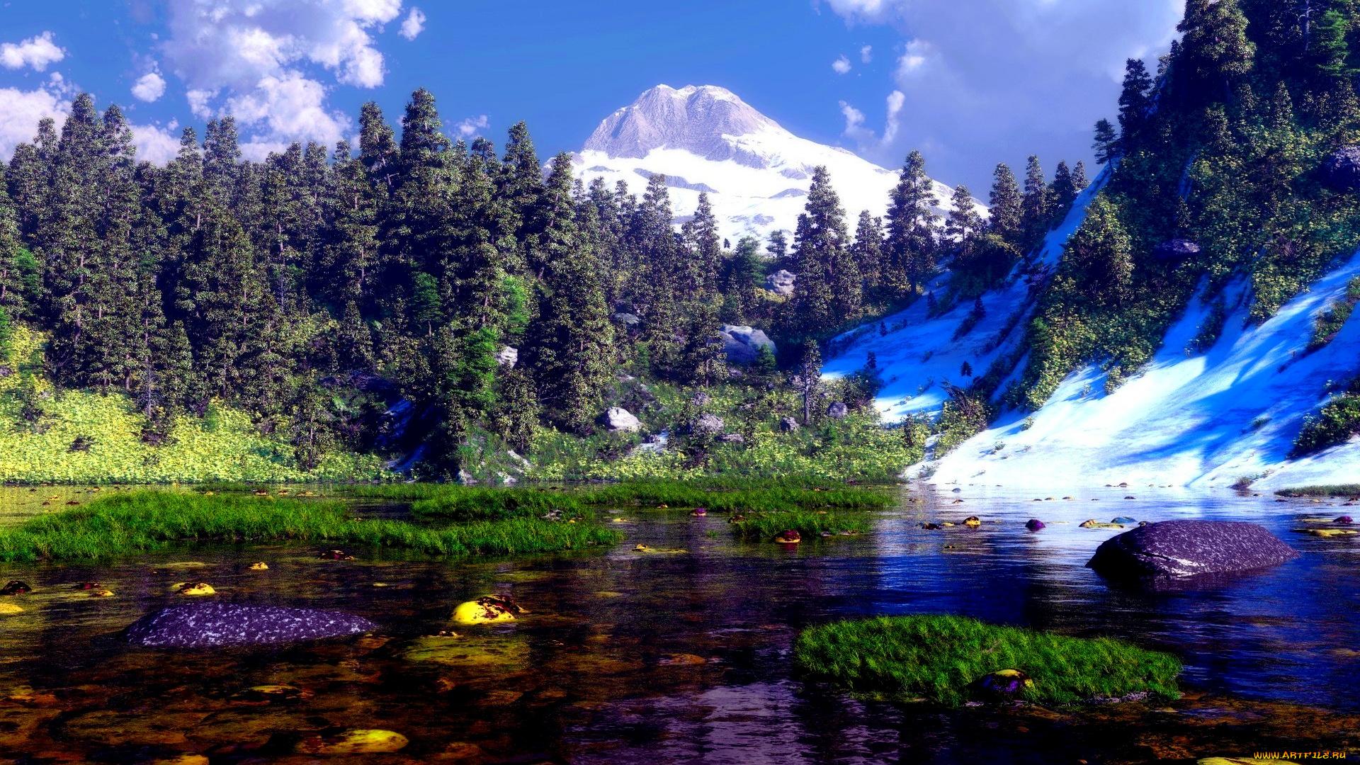 Горы, зелень, отдых, река, камни онлайн