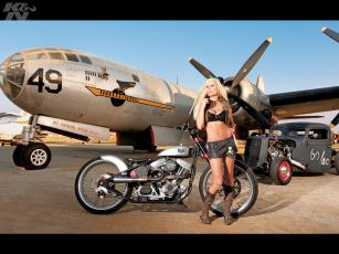 Картинка мотоциклы мото девушкой блондинка символика техника байкерша