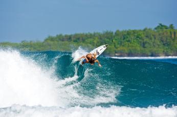 обоя спорт, серфинг, девушка, доска, волна, surfing