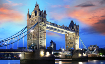 обоя города, лондон , великобритания, темза, закат, облака, мост, река