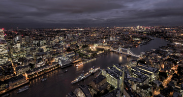 обоя города, лондон , великобритания, ночь, панорама, огни