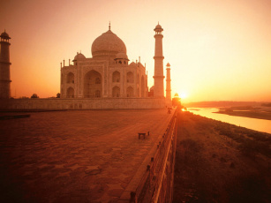 обоя the, taj, mahal, at, sunset, india, города