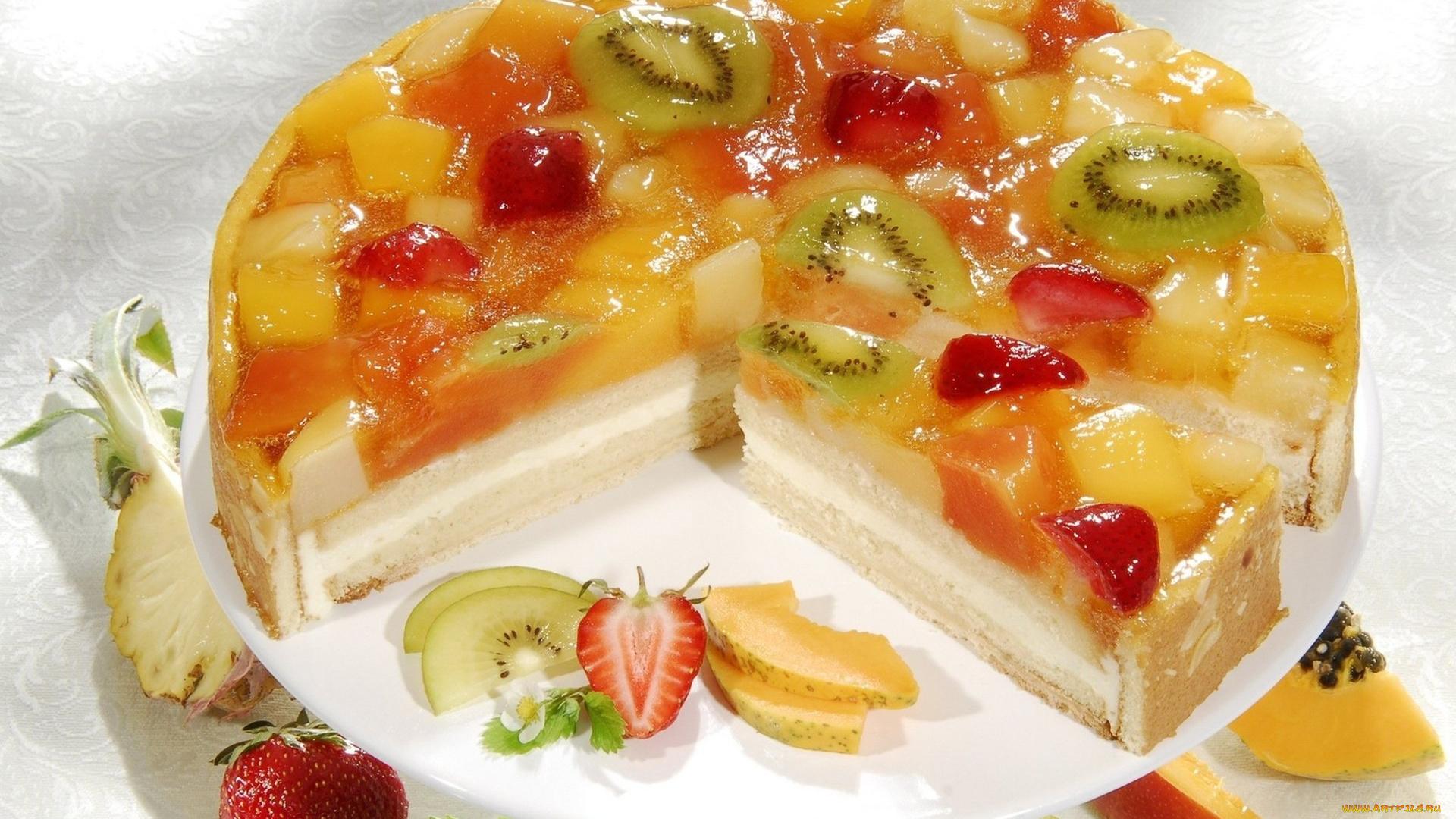 Торт с йогуртом и желатином и фруктами и печеньем рецепт пошагово
