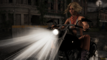 Картинка мотоциклы 3d девушка взгляд фон мотоцикл фара свет