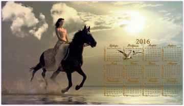 обоя календари, девушки, девушка, лошадь, море, календарь