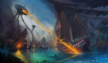 обоя фэнтези, иные миры,  иные времена, пришельцы, роботы, фантастика, фантазия, арт, корабль, море