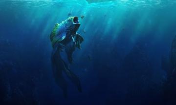 обоя фэнтези, существа, хвост, рыба, море