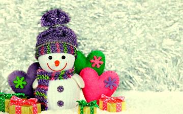 Картинка праздничные снеговики подарки банты коробки сердечки