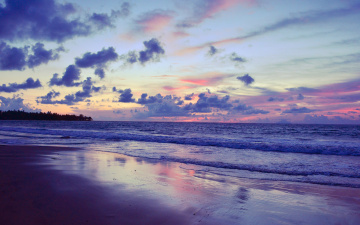 Картинка природа побережье закат небо море берег облака