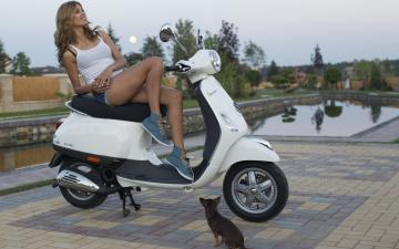 обоя мотоциклы, мото с девушкой, фон, взгляд, девушка