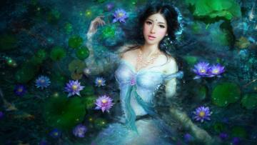 Картинка фэнтези девушки пруд девушка