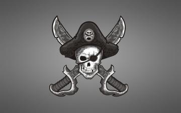 Картинка Череп+пират рисованные минимализм череп пират оружие мечи шляпа