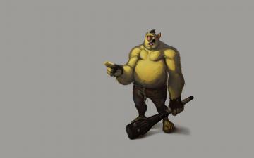 Картинка тролль рисованные минимализм зеленый дубинка troll