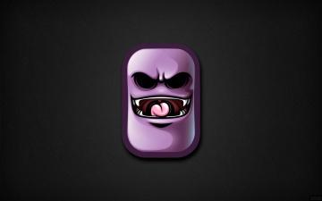 Картинка рисованное минимализм злая улыбка дизайн design фон черный art shift зубы язык монстр монстрик текстура