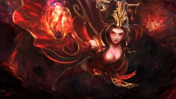 обоя фэнтези, магия, девушка, арт, принцесса, маг, платье, огонь