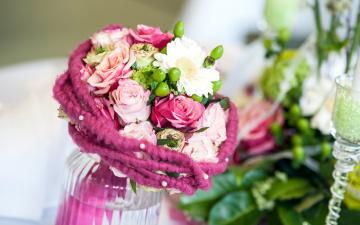 обоя цветы, букеты,  композиции, герберы, розы