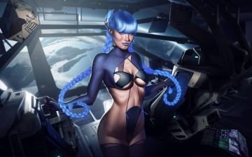 Картинка фэнтези девушки тело коса фантастика грудь spaceship девушка костюм